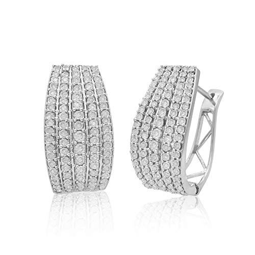 1.53 Carat (Cttw) Round Cut White Natural Diamond Huggie Hoop Earrings Sterling Silver (G-H Color) (1.53 Ct Natural)