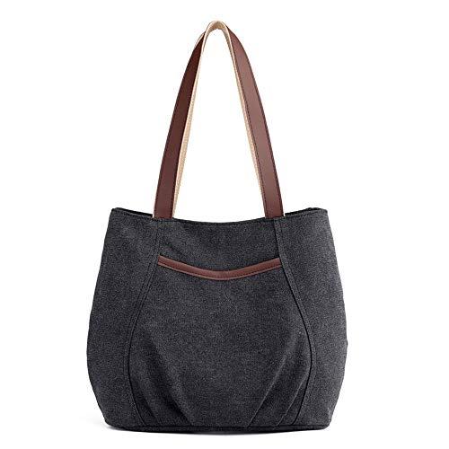 (Women's Canvas Casual Shoulder Handbag Tote Bag Cotton Travel Totes Purses(Black))