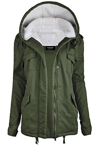 ViiViiKay Womens Cotton Anorak Lightweight Utility Parka Jackets with Drawstring NEW 61 OLIVE M
