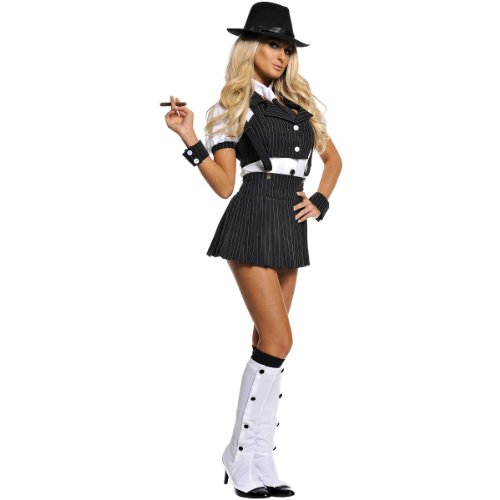 Underwraps Costumes  Women's Sexy Gangster Costume - Miss Mob, Black/White, Small