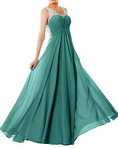 MACloth Women Straps V Neck Chiffon Lace Long Prom Dress Formal EveningBall Gown Oasis z9Xt7kTZzb