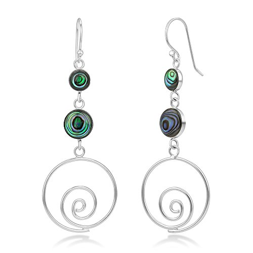 - 925 Sterling Silver Natural Green Abalone Shell Inlay Round Long Drop Dangle Earrings 2.3