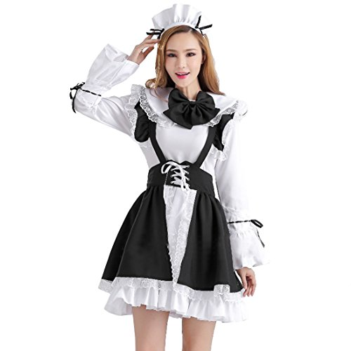 Turtle Ninja Costume Female Ideas (Partiss Halloween Anime Cosplay Costume French Apron Maid Fancy Dress,XL,Women Black)