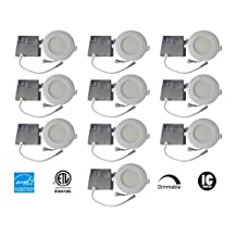 MW LED (10 packed) 4 Inch Dimmable LED Downlight Retrofit Recessed ultra thin downlight 9W (=50W) 3000K Warm White 550LM Energy Star ETL Listed 5 Years Warranty