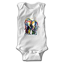 Watercolor ELEPHANT Toddler Sleeveless Romper Jumpsuit Playsuit Outfits White
