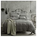 Doffapd 3p Washed Cotton Wrinkled Soft Queen Duvet Cover Set Light Gray Deal (Small Image)