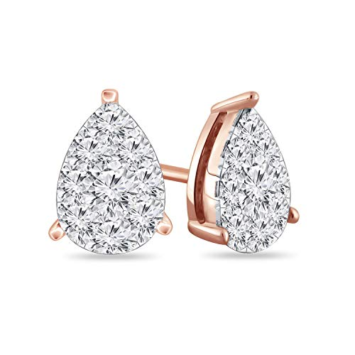 Diamond Wish 14k Rose Gold Teardrop Pear Shape Pave Cluster Diamond Stud Earrings (9/10 cttw, O.White, I2-I3) ()