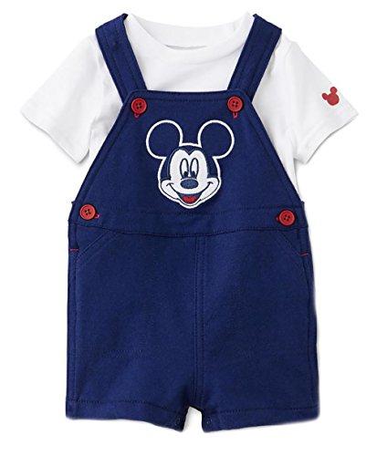 Disney Newborn Boys Mickey Mouse 2 Piece Shortall Set White/Navy 0-3M