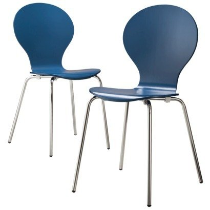 Modern Stacking Chair   Set Of 2 (Blue)  Bent Plywood Chairs   Vivid