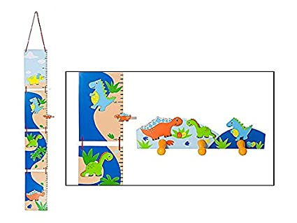 Azul Medidor de altura para niños dinosuar meauring Stick y ganchos ganchos de pared para Dino