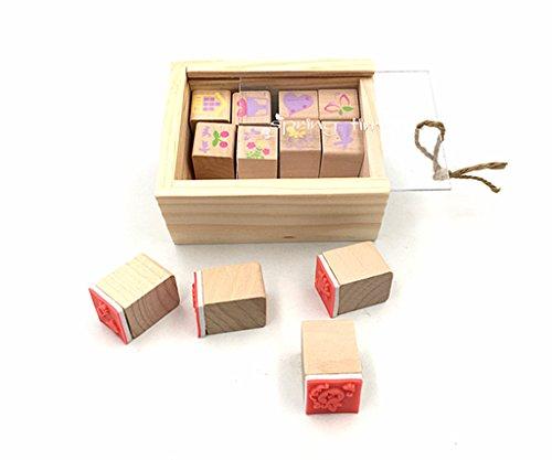Diary Stamp Set,Wooden Rubber Signet for Children DIY Scrapbooking Planner Album Card Making(12pcs,Spring Time)