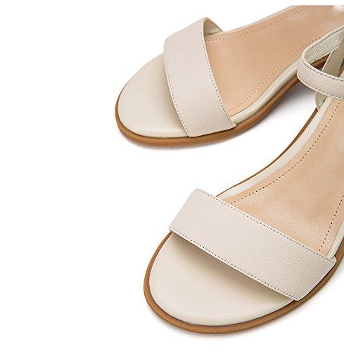 alla bufalo tacco Sandali Sandali di DHG estivi piatti Pantofole da pelle tacco moda con 35 basso Sandali basso a alti Tacchi casual donna 1vwAZXqnSw