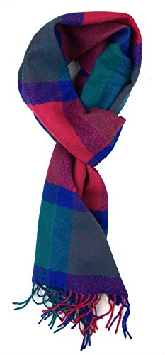 Plum Feathers Plaid Check and Solid Cashmere Feel Winter Scarf Blue Fuchsia-teal