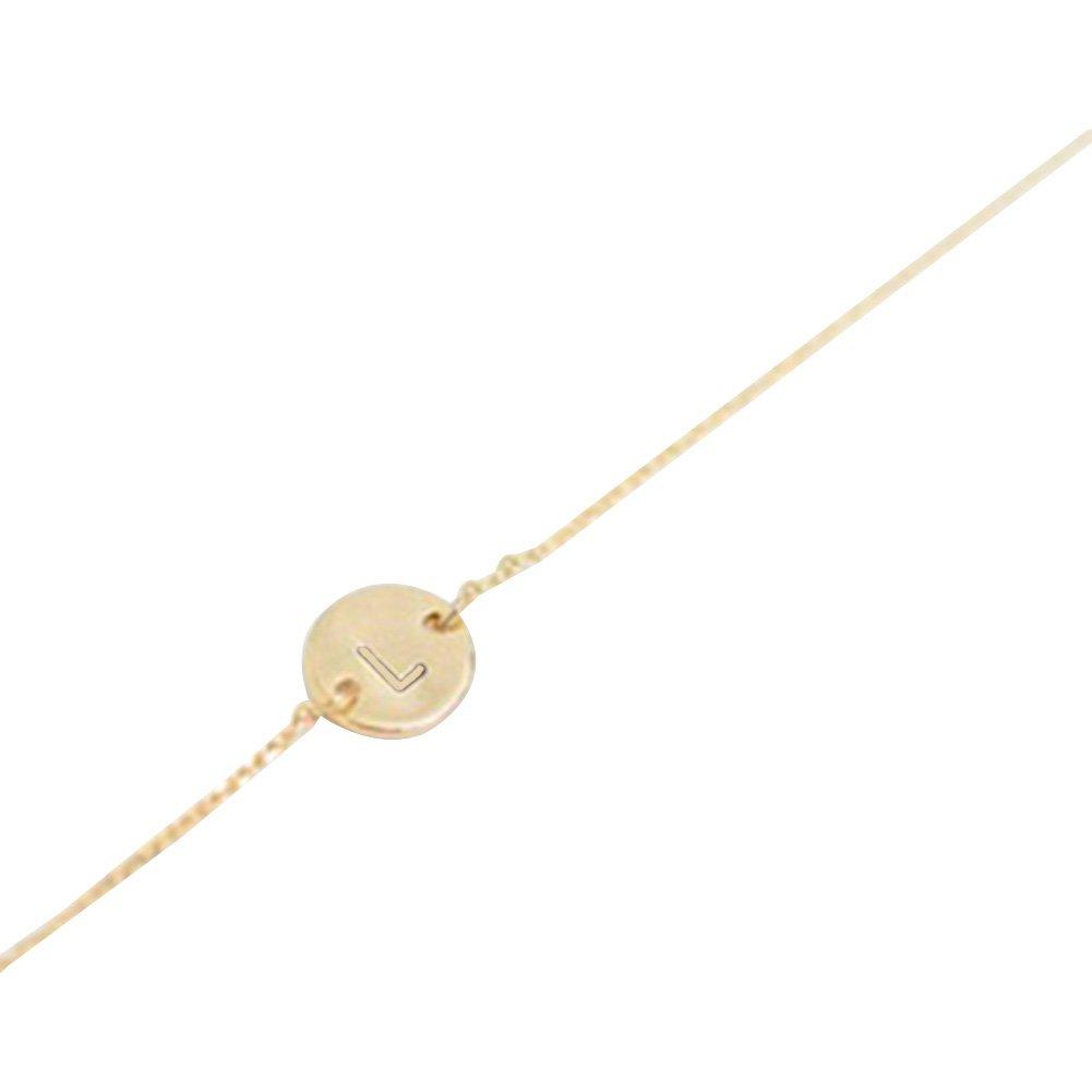 Wintefei chic Women Men Simple 26 Letters Bracelet Bangle Jewelry Chain Party Cocktail Gift for girlfriend boyfriend - Golden T