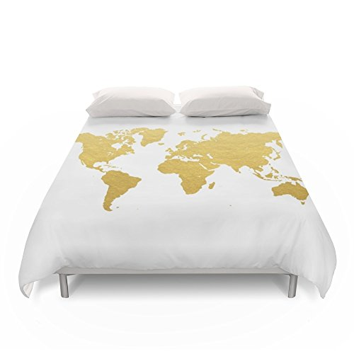 Amazon.com: Society6 Gold World Map Duvet Covers Queen: 88\