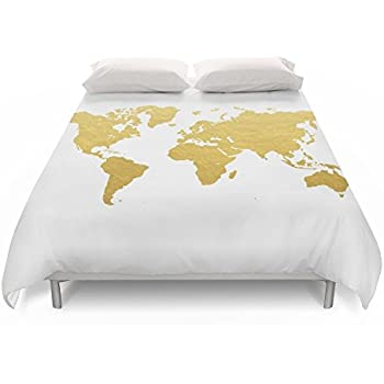 Amazon society6 vintage map of the world 1833 duvet covers society6 gold world map duvet covers queen 88 gumiabroncs Images