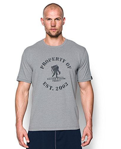 Under Armour Men's Freedom Property of WWP T-Shirt, True Gray Heather/Black, X-Large