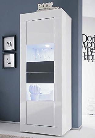 montefiore design moderne vitrine 2 tren aus glas und holz zweifarbig lackiert wei und anthrazit glnzend