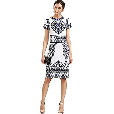 Floerns Women's Porcelain Print Work Sheath Business Pencil Dress at  Women's Clothing store