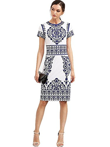 Floerns Women's Porcelain Print Work Sheath Business Pencil Dress Medium White