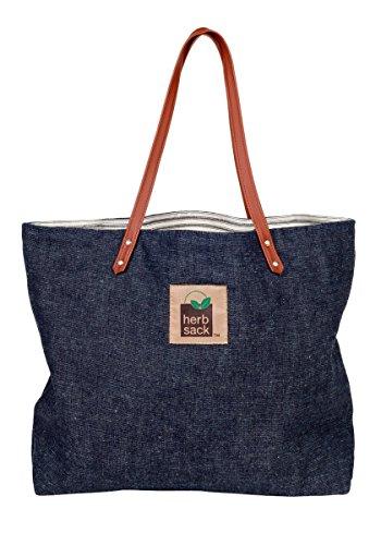 Herbsack Janice Hemp Denim & Organic Cotton Ticking Tote, Faux Leather Handles