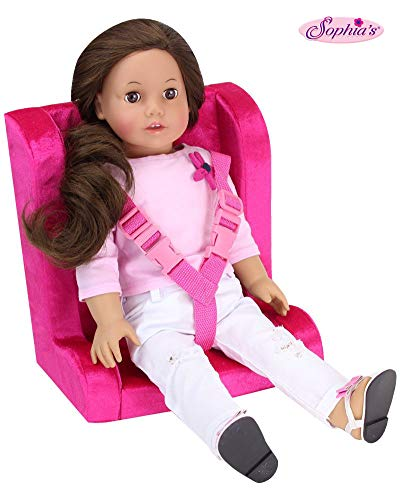 Hot Pink Doll Car Seat for 18 Inch Dolls | Soft Car Doll Seat with Straps (Carseat For American Girl Doll)