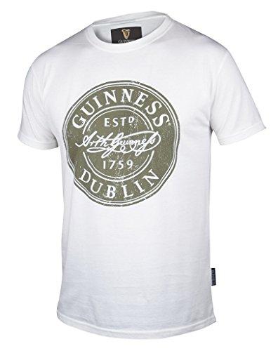 Guinness White Distressed Label Bottle Cap T-Shirt,White,Medium