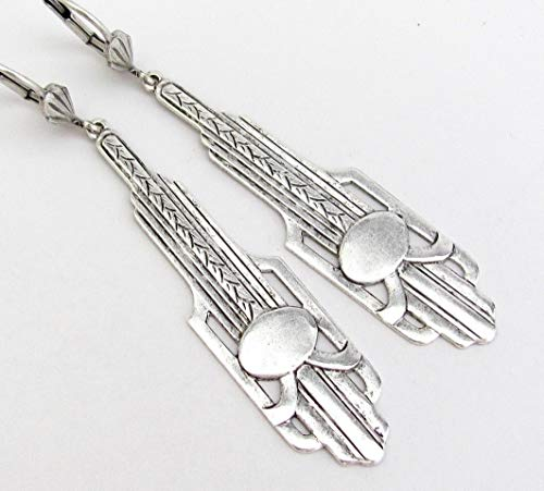 Art Deco Design Earrings Long Chandelier Drops Antiqued Silver-tone