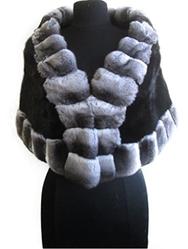 Women's New 100% Chinchilla Fur & Black Sheared Mink Fur Wrap Cape