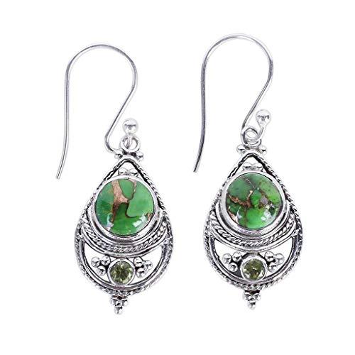 Gahrchian Sterling Silver Earrings Stud Bohemian Retro Turquoise Gemstone Waterdrop Earrings Stud For Mother's Day Gift