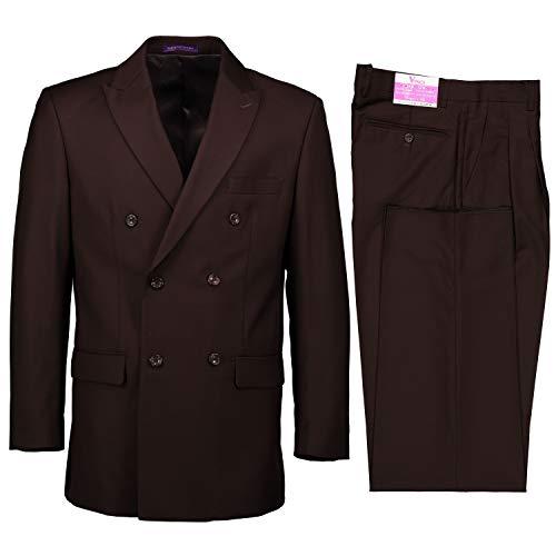 VINCI Men's Premium Solid Double Breasted 6 Button Classic Fit Suit Brown | Size: 42 Regular / 36 Waist
