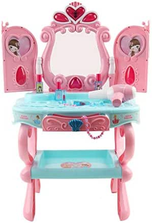 Vanity Set Girls Toy Makeup Accessories Play Set Beauty Salon Vanity Pretend Play Kids Vanity Table with Induction Function & Makeup Accessories