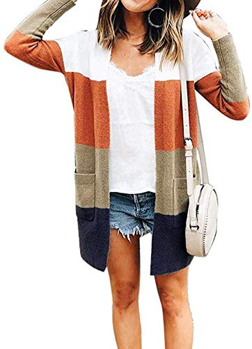 Womens Long Sleeve Loose Striped Cardigan Color Block Knit Open Front Sweater Coat