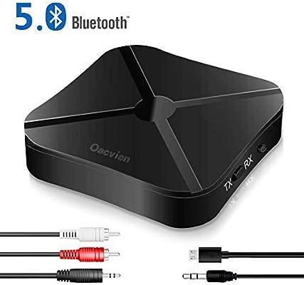 RCA /& 3.5mm AUX Audio M/úsica Inal/ámbrico en Coche 2 en 1 PC Baja Latencia Audio Est/éreo para TV Oacvien Adaptador Bluetooth 5.0 Transmisor Receptor