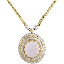 Buccellati 18K Yellow and White Gold Pink Tourmaline Oval Pendant Necklace