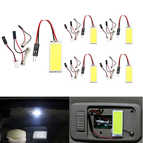- BlyilyB White COB 36SMD LED Panel Dome Lamp Auto Interior Reading,Plate Light,Roof Ceiling,Map Lamp with BA9S T10 Festoon Adapter (Pack of 5)