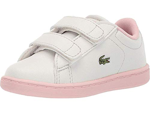 Lacoste Girls' Carnaby EVO Sneaker, off off white/light pink, 4.5. Medium US Toddler (Lacoste Baby Sneakers)