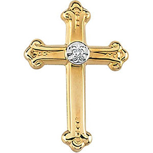 15.00x10.50 mm Cross Lapel Pin with Diamond in 14K Yellow Gold by Banvari