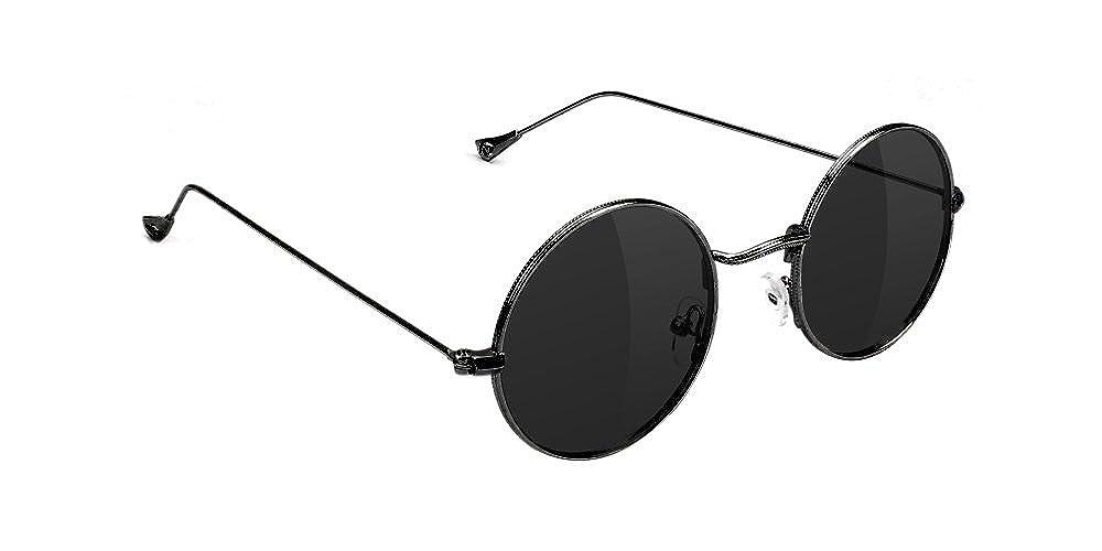 38f7882d7661 Glassy Aaron Jaws Homoki Round Retro Lennon Polarized Sunglasses - Black -  ONE_SIZE: Amazon.co.uk: Clothing