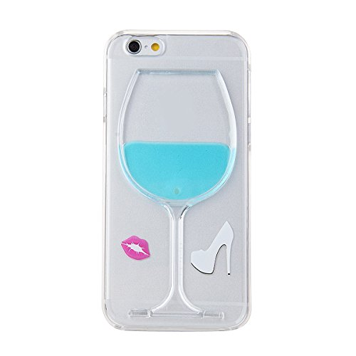 """Eforcase™ Funny Case for iPhone 6, Flowing Liquid Goblet Plastic Cover for iPhone 6 4.7 inch, Hard Case for iPhone 6 4.7"""", Clear Case for iPhone 6, Fashion Creative 3D Design Flowing Liquid Wine Glass Red Lip High Heels Clear Back Hard Case Cover for Apple iPhone 6 with 4.7 inch Screen (Blue Wine Glass Lips)"""