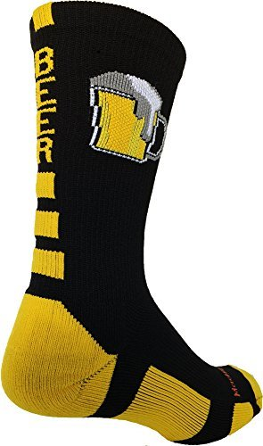 Beer Mug Crew Socks (Black/Gold, Medium) by MadSportsStuff
