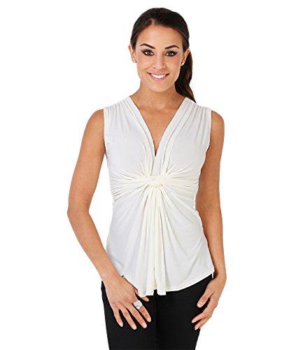 Top Mujer Fruncido y Plisado Camiseta Elegante Casual Primavera Verano Crema