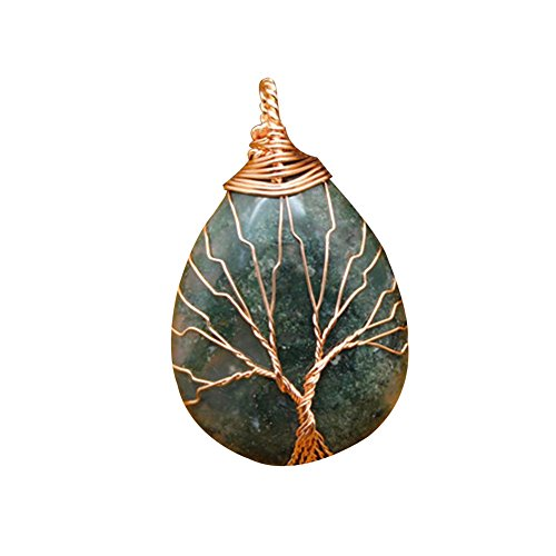 (lightclub Natural Stone Waterdrop Shape Pendant Charm Necklace Jewelry DIY Accessory Aquatic Agate)