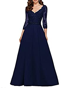 ynqnfs Ladies V-Neck Ball Gown Lace Style Applique Long Bridal Gown