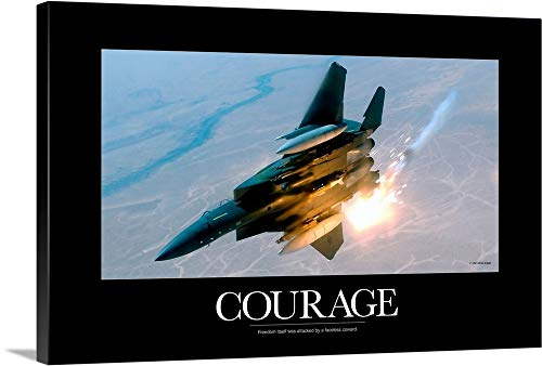 - Kate Lillyson Premium Thick-Wrap Canvas Wall Art Print entitled Military Poster: An F-15E Strike Eagle pops flares during a combat sortie 24