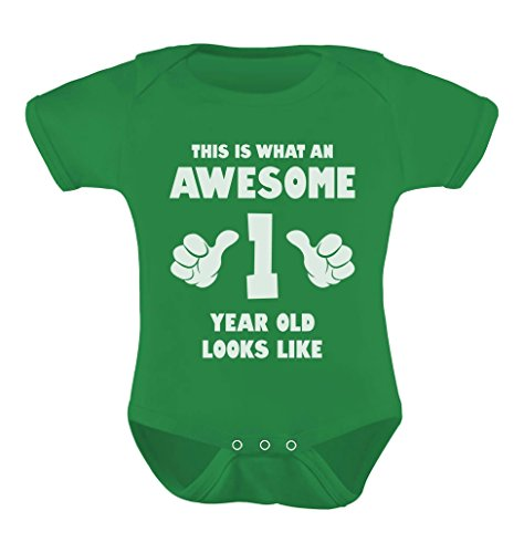 Tstars TeeStars - This Is What an Awesome One Year Old Looks Like Funny Baby Bodysuit 12M Green