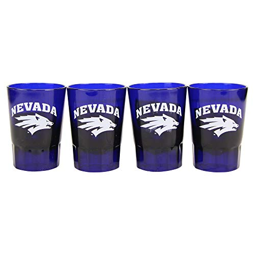 NCAA 4-Pack Full Color Plastic Stackable Team Logo Shot Glasses (Nevada - Wolfpack Glass