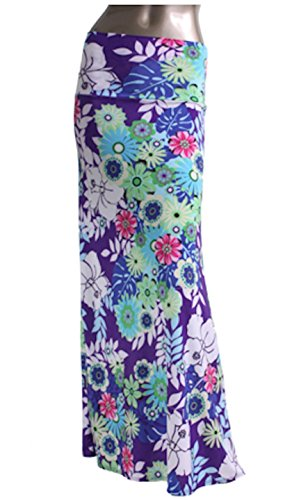 Azules Women'S Poly Span Multiple Selection Print Maxi Skirt (L, Purple Floral G23)