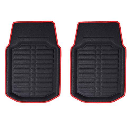 (FH GROUP FH-F14409 Front Set 3D Faux leather floor liners, Black w. Red Trim Color)