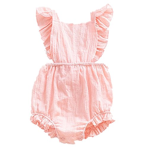 Infant Baby Girl Twins Bodysuit Sleeveless Ruffles Romper Sunsuit Outfit Princess Clothes (Pink, 70(0-6 Months))